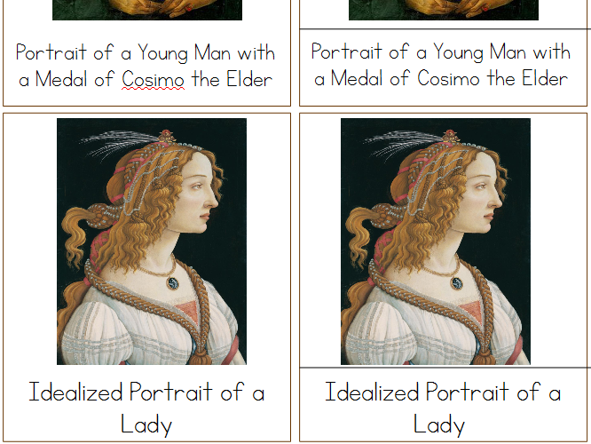 Botticelli Montessori 3-Part Cards