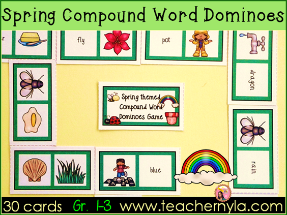 Compound Words Dominoes Spring themed