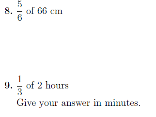 Fraction of an amount (non-calculator) worksheet no 2 (with solutions)