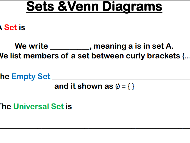 Venn Diagrams and Set Notation Handout