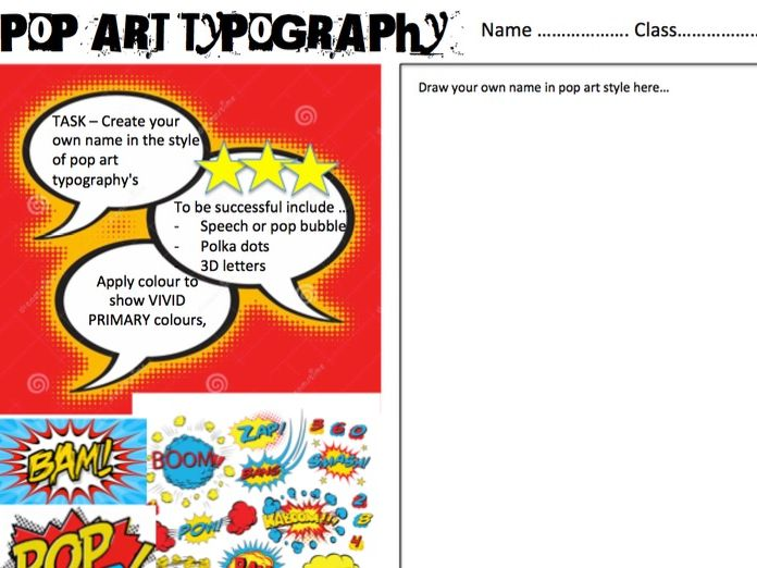 Pop art typography work sheet / cover lesson
