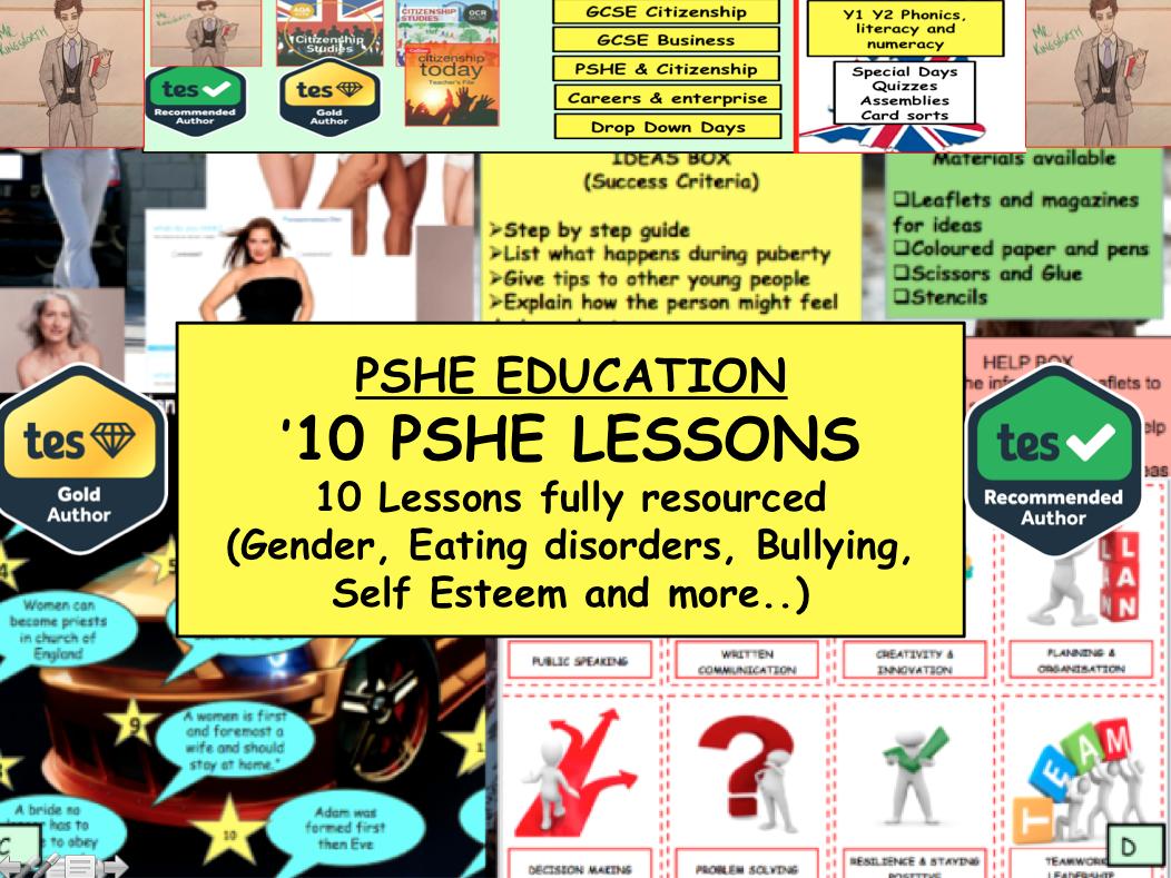 PSHE bundle 10 x  lessons on Gender / Healthy eating / self esteem etc...