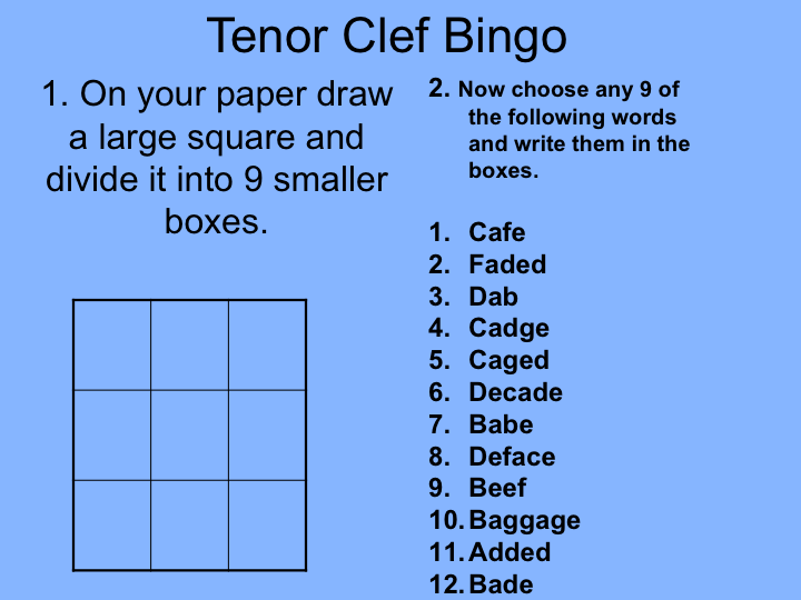 Music theory: Tenor Clef Bingo Game (powerpoint file)
