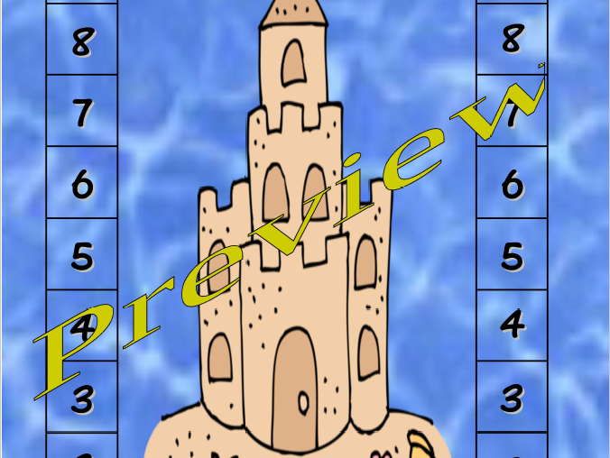 Ocean Beach Themed Sandcastle Race to 10 Game Adding/Subtracting +1,-1,+2,-2
