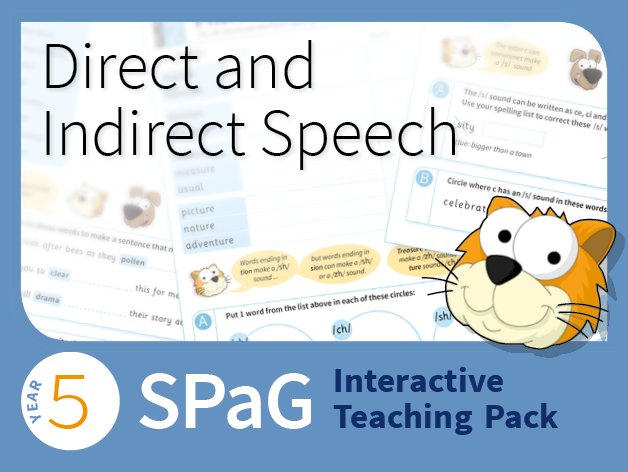 Year 5 SPaG Interactive Teaching Pack - Direct and reported speech