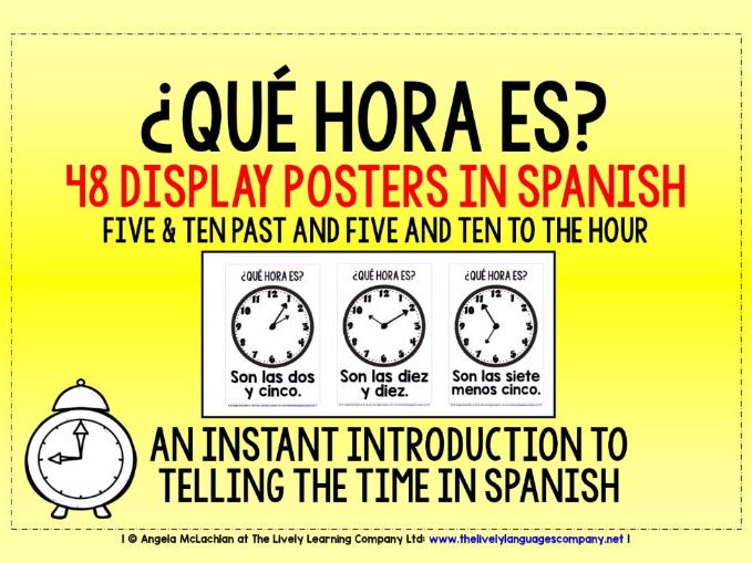 SPANISH TELLING THE TIME FLASHCARDS / POSTERS (2)