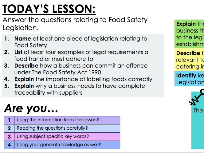 KS4 WJEC Hospitality Unit 01 LO4 - Food Safety Legislation