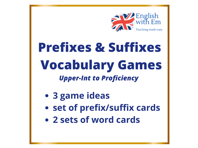 Prefixes & Suffixes Vocabulary Games x 3