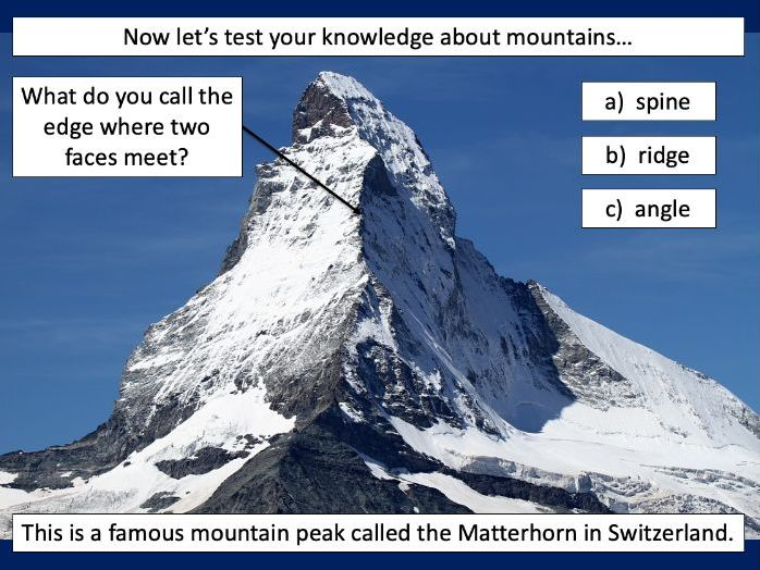 Identifying the key features of mountains - KS2