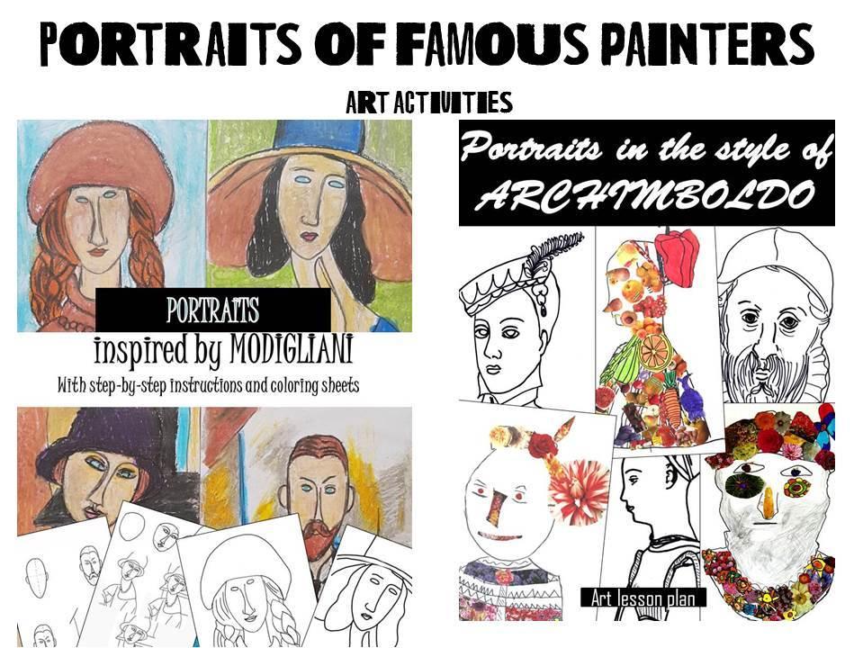 Portraits of famous painters, art activities