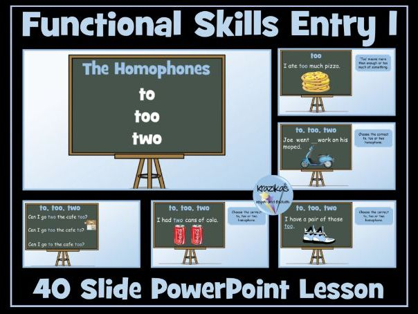 Functional Skills English - Entry Level 1 - Homophones - Two, Too, To