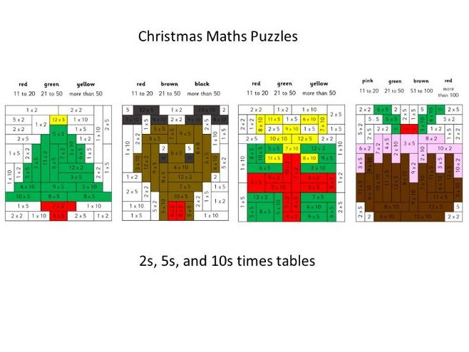 Christmas Maths Mosaic Puzzles with 2s, 5s and 10s Times Tables