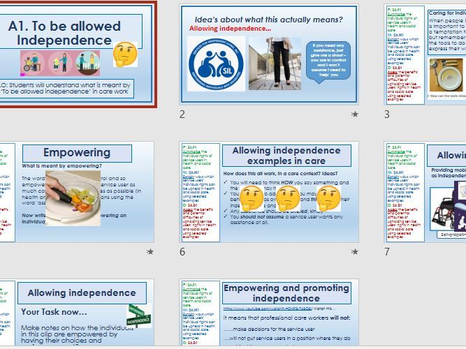 BTEC First - Unit 8 - Individuals Rights in Health & Social Care LAA.