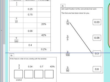 Decimal Fraction Percentage - equivalencies of all three - convert - KS2 - WORKSHEET ONLY