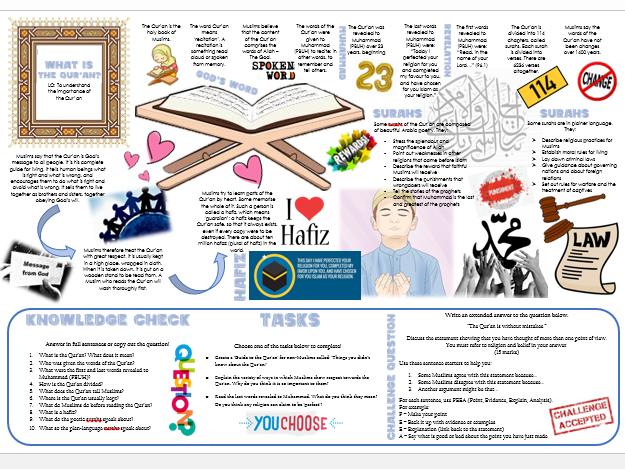 Islam: Holy Books - The Qur'an Task Mat