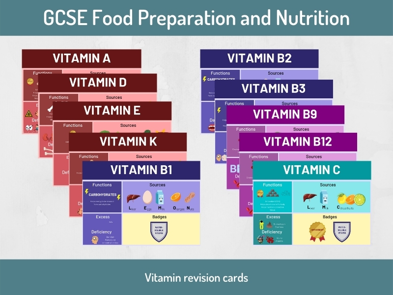 Vitamin Revision Cards (GCSE Food Preparation & Nutrition)
