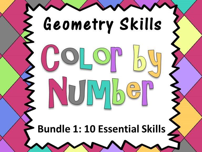 Geometry Skills Color By Number Bundle 1: 10 Essential Skills