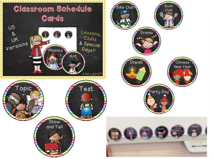 Visual Timetable Classroom Schedule Cards with clubs and special days!