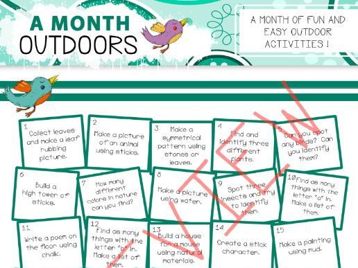 A Month Of Outdoor Activities Calendar - Distance Learning