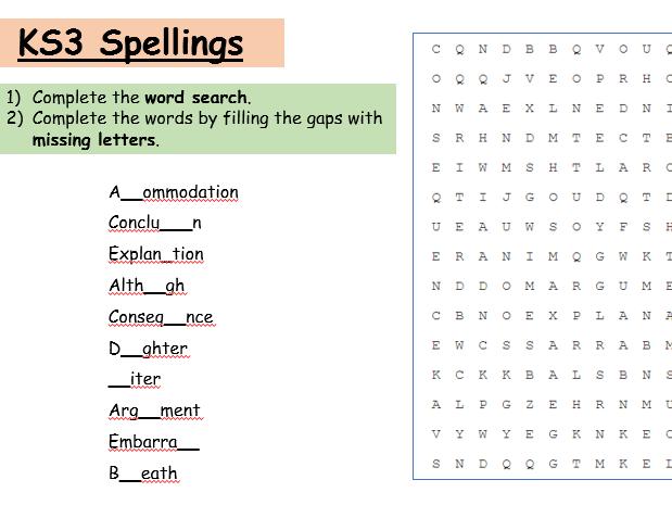 Wordsearch: KS3 Common Mispellings