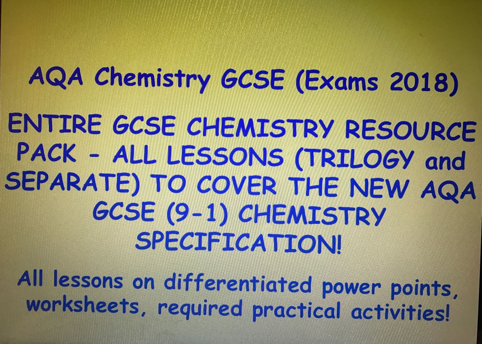 AQA New GCSE Chemistry 9-1 (Exams 2018) - ENTIRE RESOURCE PACK, ALL LESSONS for entire course!!
