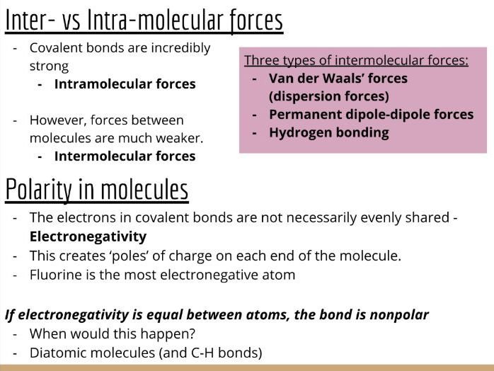 Physical Chemistry #10: Intermolecular Forces, Electronegativity & Bond Polarity (Slides & Tasks)