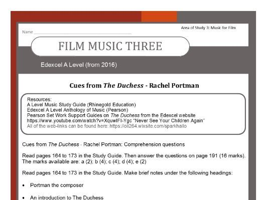 Edexcel Music A Level (from 2016-) 'Portman - The Duchess' Film Music Three