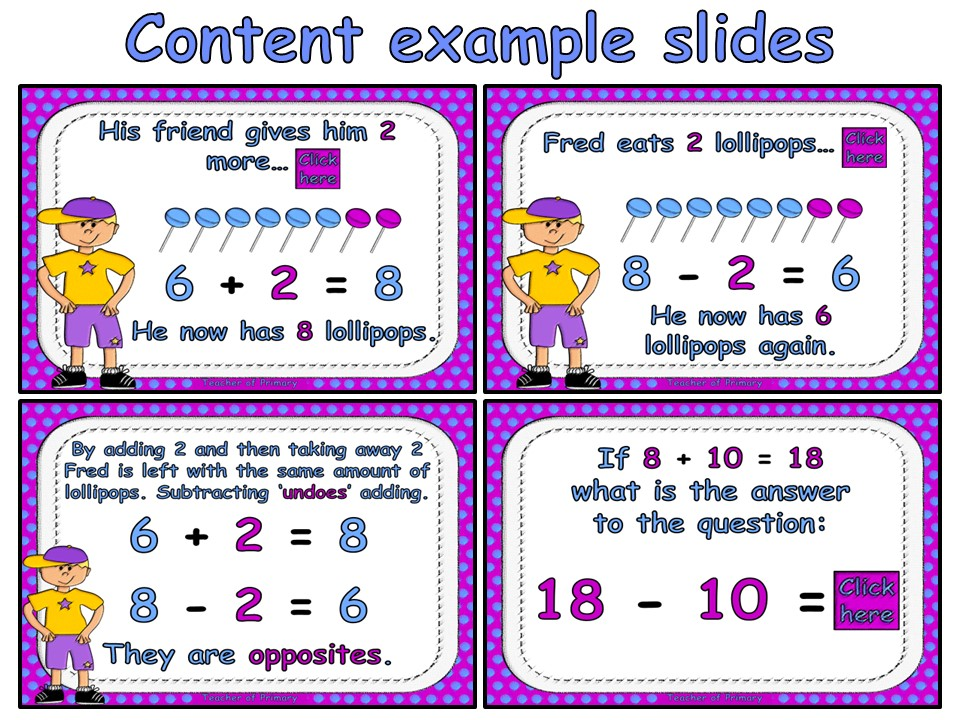 Addition and Subtraction are Opposites! - PowerPoint presentation and worksheet
