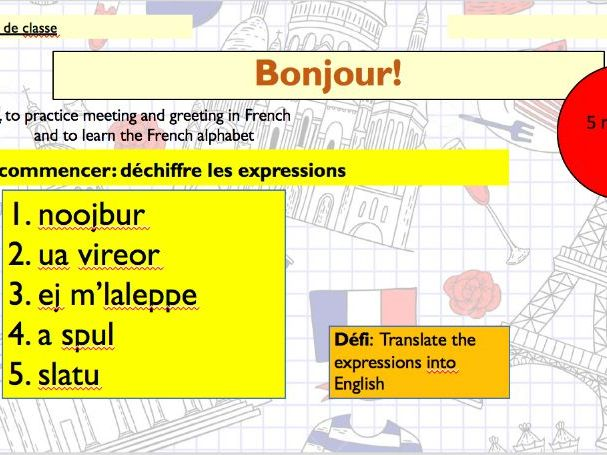 Bonjour! Year 7 French spelling lesson