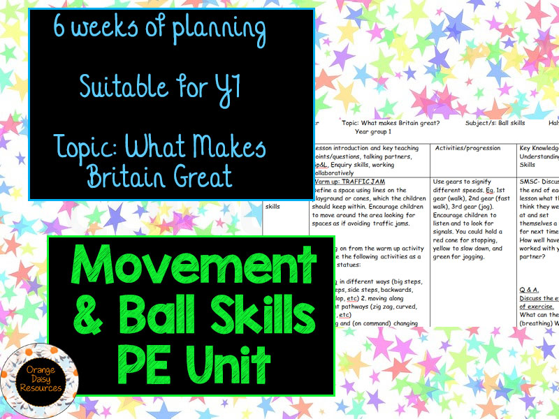 6 week Basic Movement & Ball Skills PE Unit for Y1