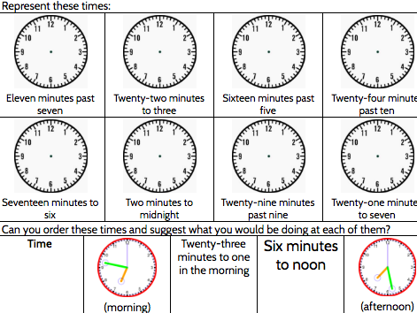 Time from an analogue clock, nearest 5 mins and nearest minute