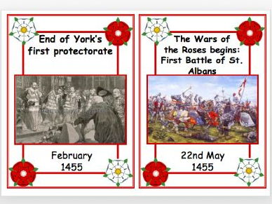 Wars of the Roses Timeline Cards