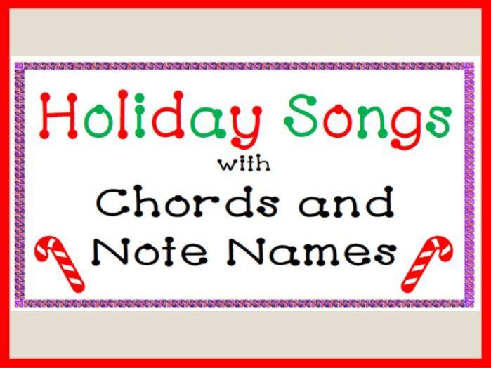 Piano Holiday Songs: Note Names and Chords