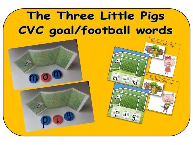 The Three Little Pigs - CVC goal/football bottle top word makers