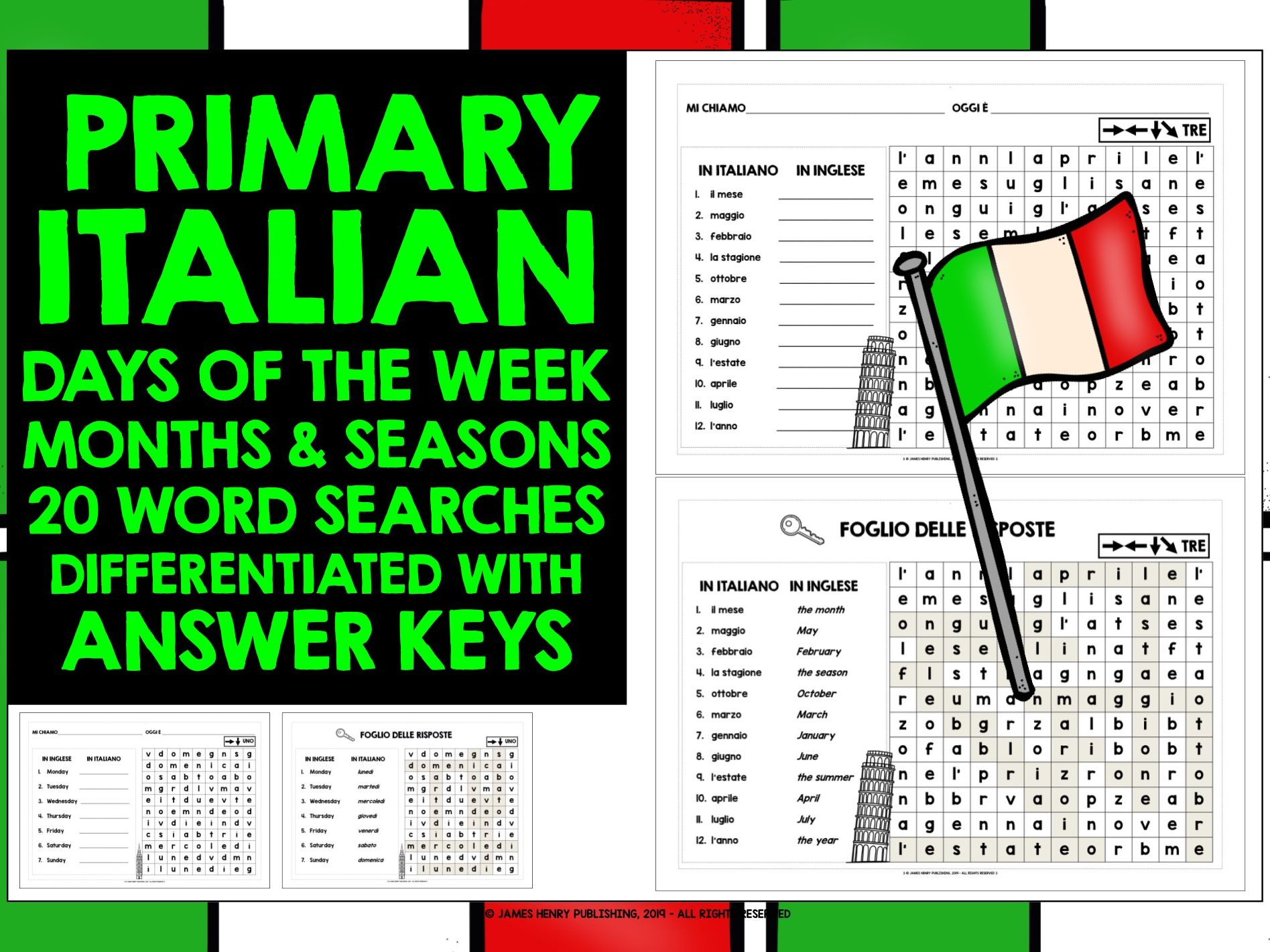 ITALIAN DAYS MONTHS SEASONS WORD SEARCHES