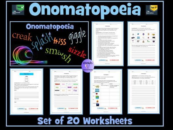 The Literary Device of Onomatopoeia - Set of 20 Worksheets