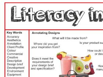 Design & Technology Literacy Mat or Poster Textiles Food Product Design