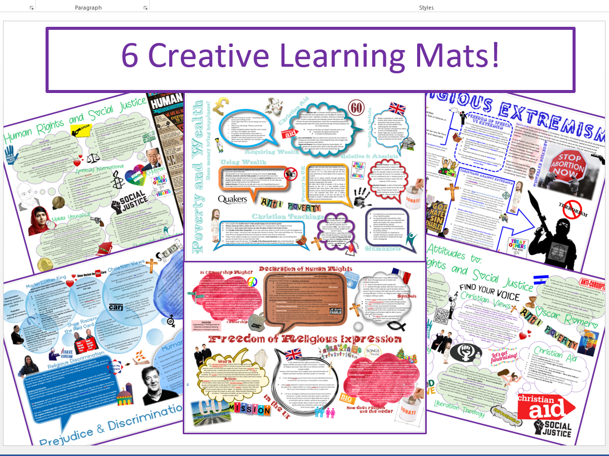 WJEC Eduqas Issues of Human Rights Learning Mat Bundle