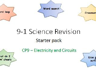 P9 Electricity and Circuits Revision starter pack Science 9-1