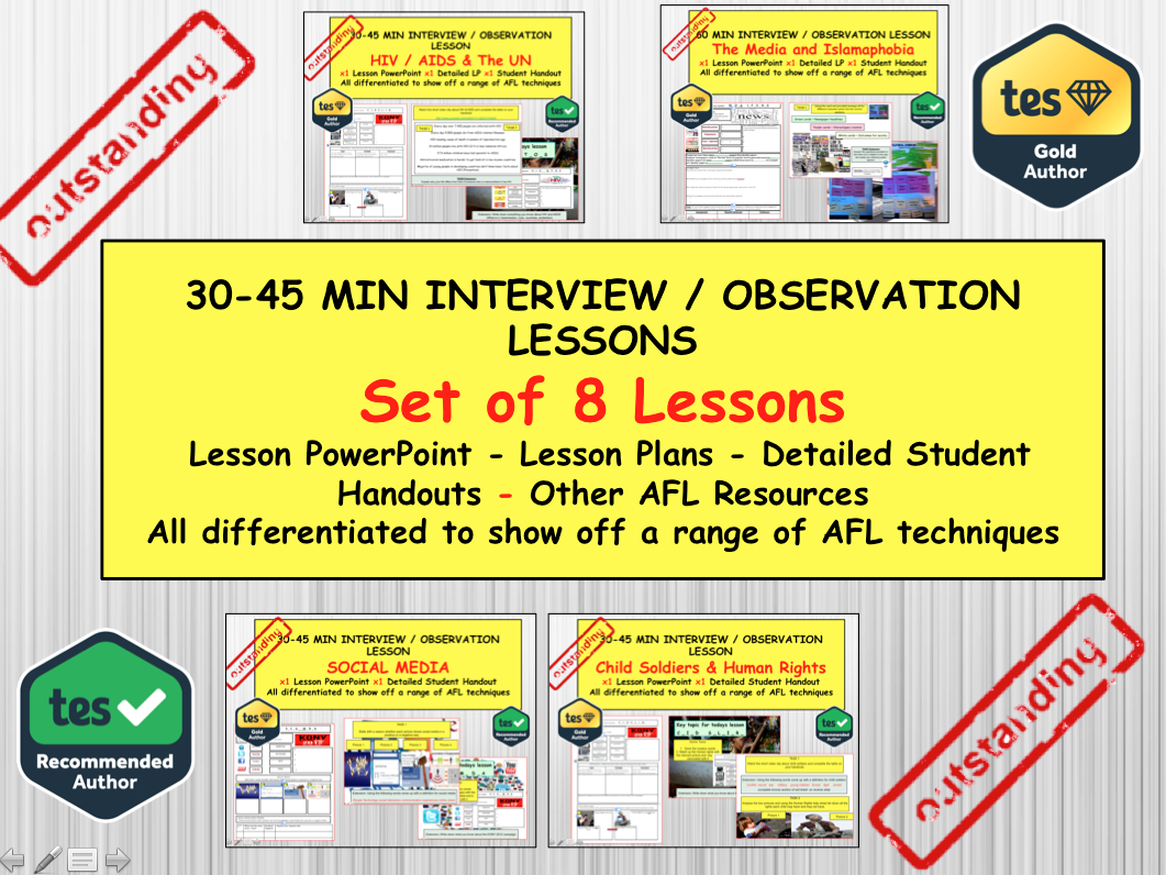 x8 PSHE and CITIZENSHIP Interview or Observation  Lessons