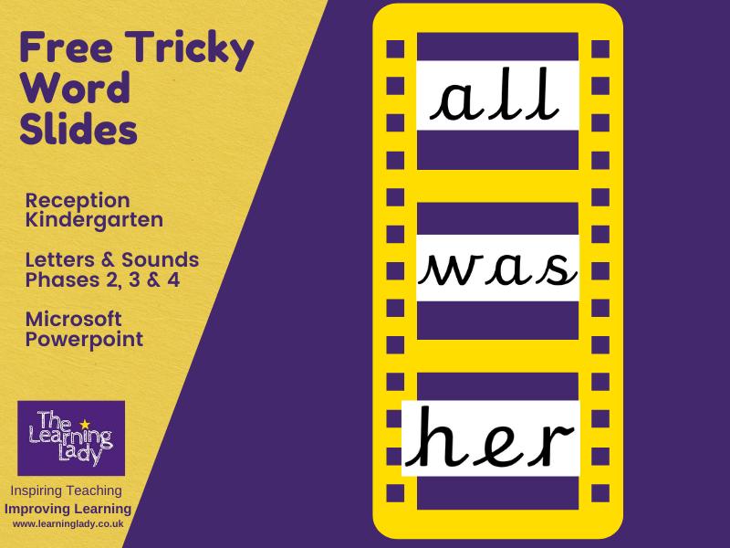 Free Tricky / Sight Word Slides