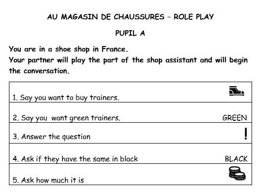 GCSE French speaking role play (shop)