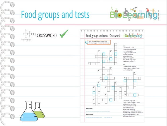 Food Groups and Tests - Crossword puzzle (KS3/KS4)