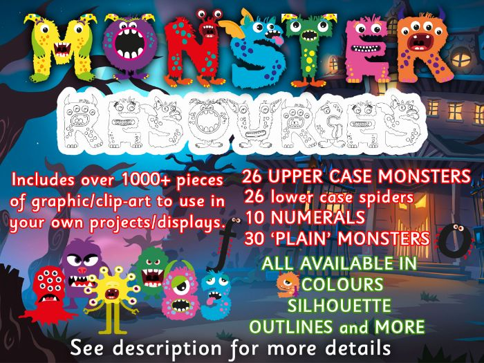 ALPHABET + NUMERS + MORE. (1000+ MONSTER BASED CLIP-ART / GRAPHICS)