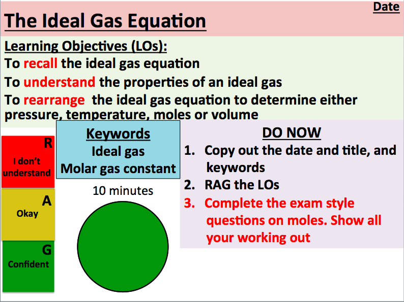 KS5 Chemistry: The Ideal Gas Equation (AS Level)