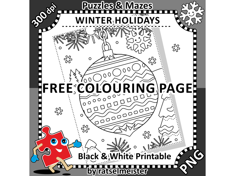 FREE Colouring Page with Decorated Ornament