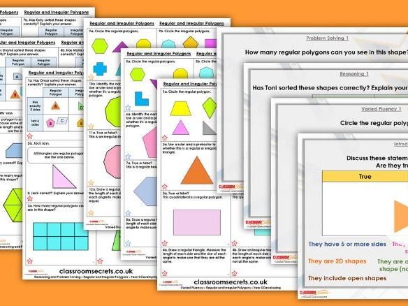 Year 5 Regular and Irregular Polygons Summer Block 2 Step 8 Maths Lesson Pack