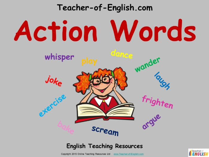 Verbs - Action Words (PowerPoint and worksheets)