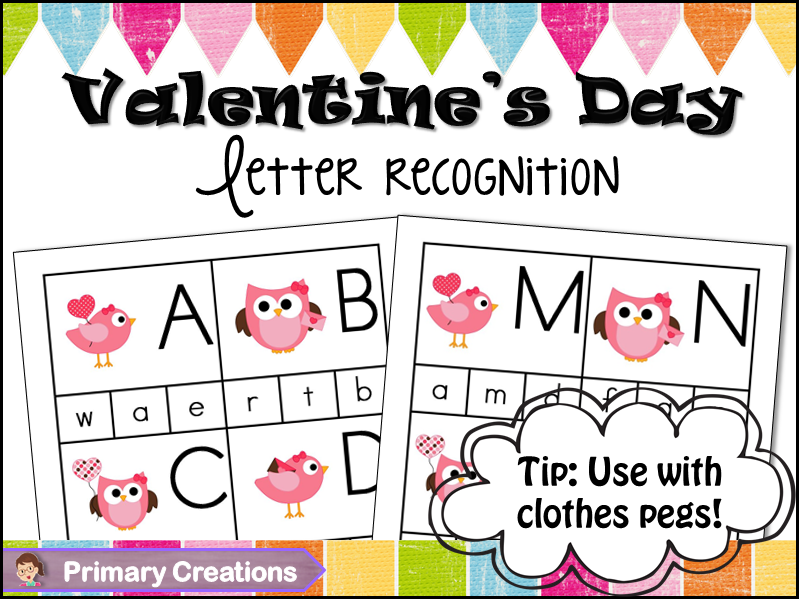 Valentine's Day Preschool and PreK Alphabet Matching Activity