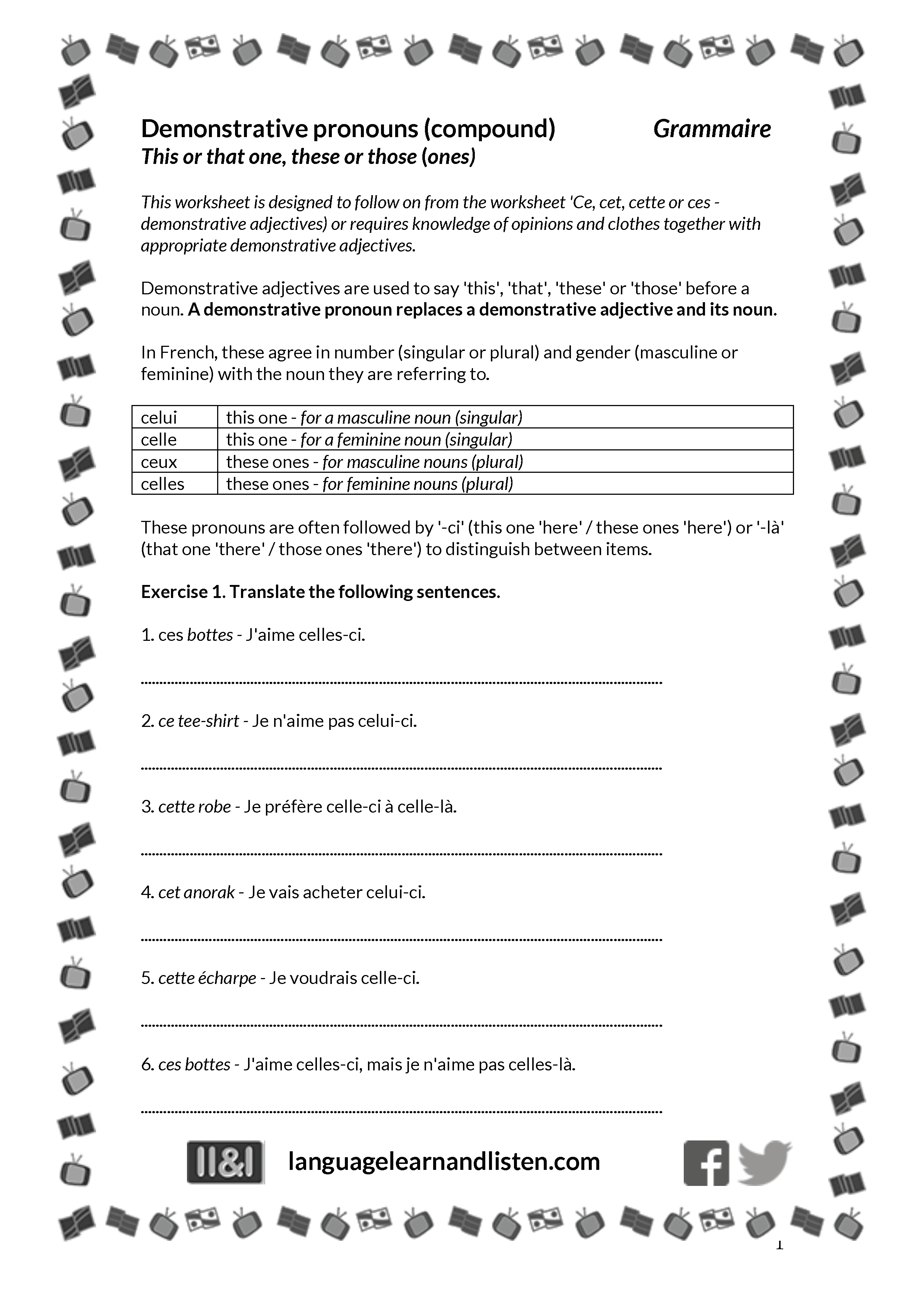 French - Demonstrative pronouns  Teaching Resources Intended For Demonstrative Adjectives Spanish Worksheet